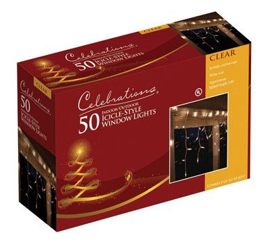 Celebrations 14098-73A Window Icicle Light Set, 3', 50 Clear - Indoor Icicle Lights