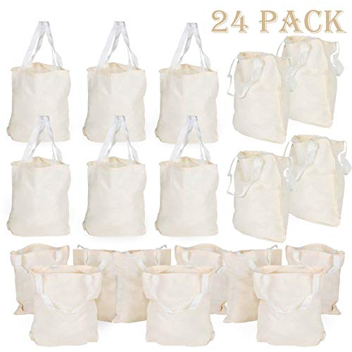 Canvas Tote Bags Bulk 24 Pack Natural Cotton DIY Crafts Party Favor Tote Bags Birthday Gift Beach Wedding Favor Reusable Grocery Bag Back To School Accessory 13 X 11 Inches By 4E's Novelty ()
