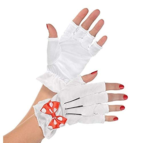 Disney Womens Minnie Mouse Red Bow Costume Fingerless Gloves White -