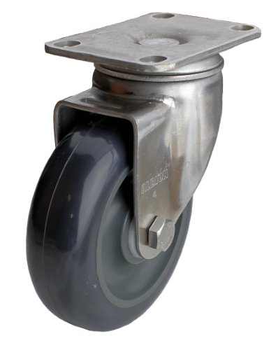 Albion-04-Series-4-Diameter-Polyurethane-on-Polypropylene-Wheel-Light-Duty-Stainless-Steel-Plate-Swivel-Caster-Delrin-Bearing-3-58-Length-X-2-12-Width-Plate-350lbs-Capacity-Pack-of-4