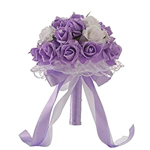 Wedding Bouquet Wedding Bridal Bouquet Artificial Flowers Rose with Fake Pearl and Ribbon for Bridesmaid Bride 25×20cm【Ship from USA 】 54