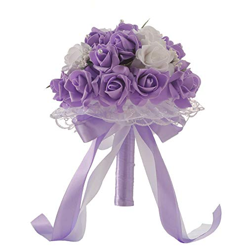 JPJ(TM)Wedding Bouquets1Pcs Hot Fashion Crystal Roses Bridesmaid Bouquet, Bridal Bouquet Artificial Flowers for Wedding, Party and Church 2520cm -Ship from US