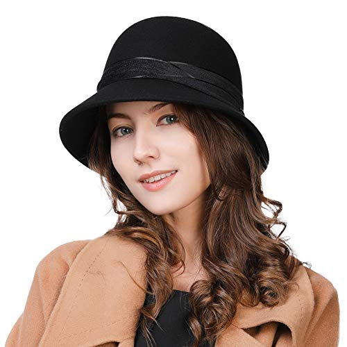 Womens 1920 Vintage Fedora Bowler Cloche Bucket Church Derby Party Hat Felt Wool Winter Floppy Ladies Black -