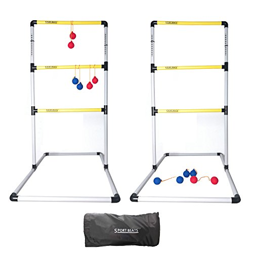 SPORT BEATS Premium Ladder Ball Toss Game Set with 6 Rubber Bolos, Carrying Case and Score Included