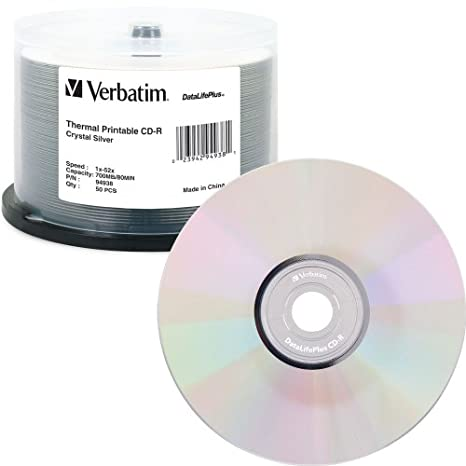 image regarding Verbatim Cd R Printable titled Verbatim CD-R 700MB 52X DataLifePlus Crystal Thermal Printable - 50pk Spindle