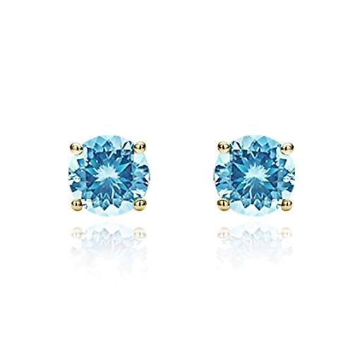 14K Yellow Gold 5mm Round Cubic Zircornia Prong Set Solitaire Screwback Stud Earrings - Sky Blue 14k Yellow Gold Set