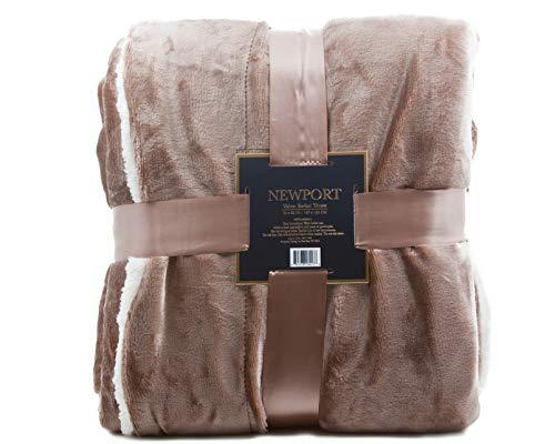Sandy Herringbone ReLive Reversible 50x60 Inch Soft Velvet Luxury Berber Throw Blanket
