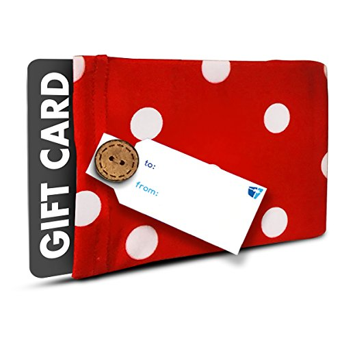 Gift Card Holder (Set of 2) - Stretchy Fabric, Reusable and Eco Friendly - Red and White Polka Dots (2 Gift Card Holder with 2 FREE Gift Tags)