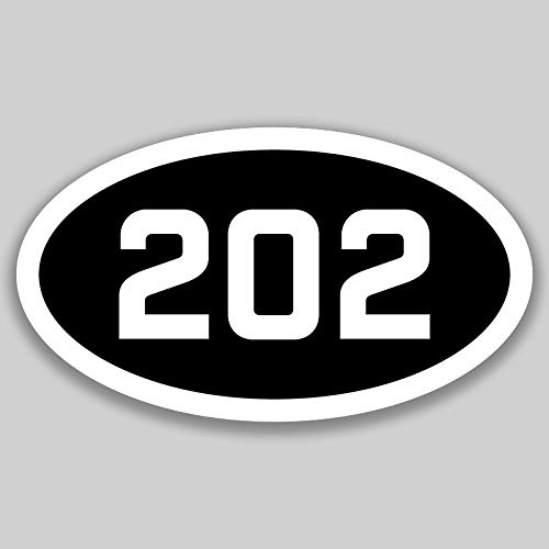 DHDM 202 Area Code Sticker Washington DC District of Columbia City Pride Love | 5-Inches by 3-Inches | Premium Quality Vinyl UV Resistant Laminate PD2678