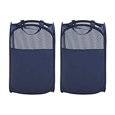 StorageManiac Foldable Pop-Up Mesh Laundry Hamper with Reinforced Carry Handles, 2-Pack