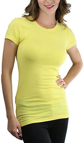 ToBeInStyle Women's Slim Fit Crew Neck S.S. Longline Tee - Yellow - Small