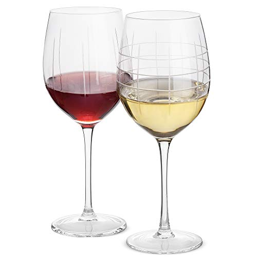 DAQQ Wine Glasses - Set of 2 Crystal Etched Designed Wine Glasses - Dishwasher Safe - 22 Oz Engraved Ornaments Large Glasses for Red and White Wine - Gift for Women/Mom - Elegant Gift Box ()
