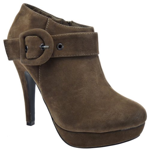 Kickly–Zapato Mode zapato plataforma plataforma tobillo mujer hebilla tacón de aguja 12.5CM–interior textil–Taupe