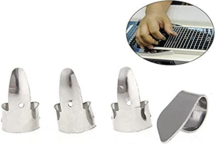 Whitelotous Metal Finger Guitar Pick Plectrums Slide Guitar Banjo Ukulele 4pcs//Set