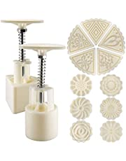 Mooncake Mold Press 50g 2 Sets with 11 Stamps, Flower and Triangle Shape Decoration Tools for Baking DIY Cookie (White)