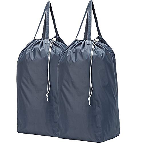 HOMEST 2 Pack Travel Laundry Bag with Handles, Square Base Can Carry Up to 3 Loads of Clothes, Machine Washable Dirty Clothes Storage with Drawstring Closure, Grey