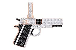 Black & White Natural Diamond Gun Pendant