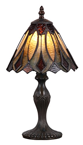Table Accent Glass Bronze (Tiffany Style Table Lamp Stained Glass Mini Small Accent Decorative Antique Lighting Coffee Table Desk Bedroom Living Room Bedside Reading Night Light Cream Beige Black Brown Colored 14 X 8 inch Brass)