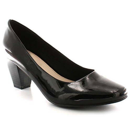 Nero Slip Smart Pompe Wider Donna Scarpa Raccordo Tacco Ampia Work Brevetto Comfy Classico Block On Scarpe E Plus Fit Office Taglia Comfort Casual Mid Corte Bassa Formal 4aTPw