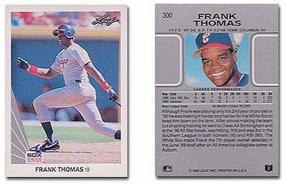 (1990 Leaf Frank Thomas Rookie Baseball Card #300 - Shipped In Protective Display Case! )