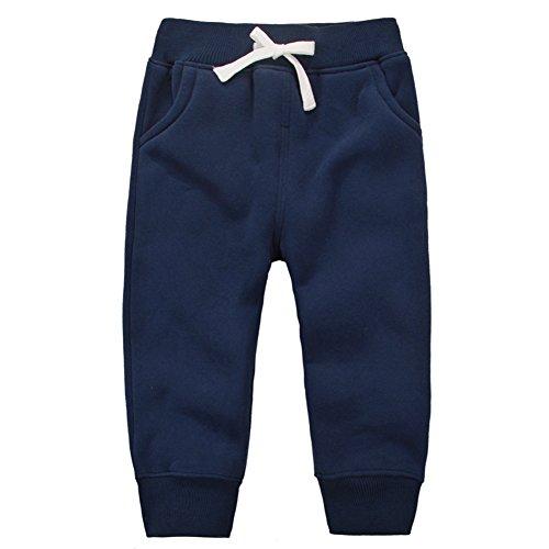 CuteOn Unisex Toddler Jogger Pants Kids Cotton Elastic Waist Winter Baby Sweatpants Pants 1-5Years Dark Blue