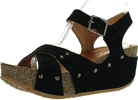 Forever Freya-23 Womens Cork Look Platform Ankle Strap Low Wedge Sandals,Black,6.5 - Cork Platform Sandals
