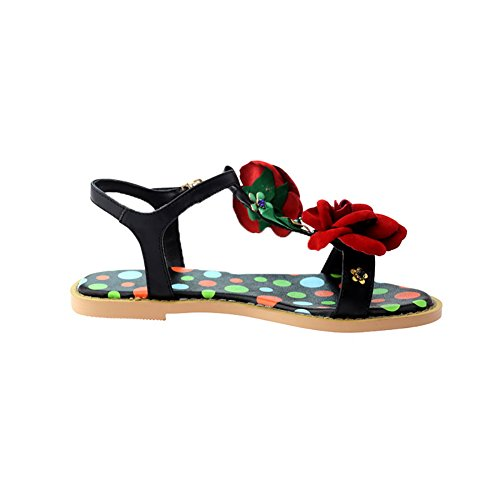 AdeeSu Womens Flowers Metal Buckles Urethane Flats Shoes SLC03703 Black WkiI2D