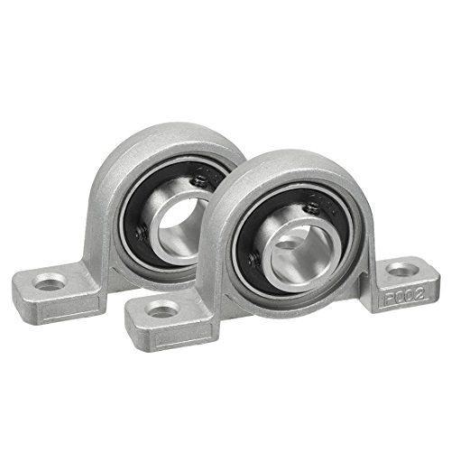 uxcell 2pcs KP002 15mm Bore Zinc Alloy Inner Ball Mounted Pillow Block Insert Bearing ()