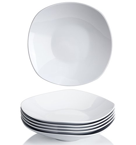 Y YHY 9 Inches Porcelain Salad Pasta Bowls, White Square Bowl Set, Wide and Shallow, Set of - Deep Plate Pasta
