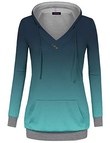 Anmery Womens Lightweight Hoodie Sweatshirt Long Sleeve V Neck Tuinc Tops with Kangaroo Pocket