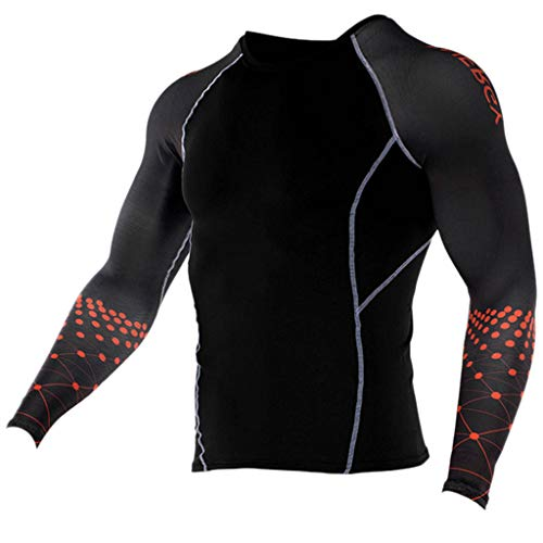- JJLIKER Mens Print Performance Long Sleeve Compression Shirts Cool Dry Baselayer Fitness Elastic T-Shirt Quick-Drying Red