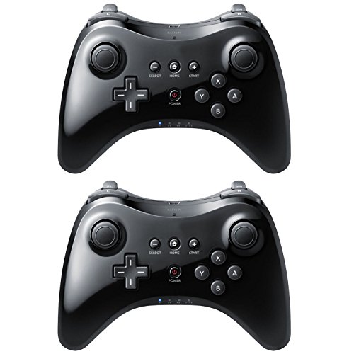 Controllers & Attachments Controller for Nintendo Wii U 2 Black High Quality U Pro Bluetooth Wireless from Video Game