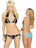 Sexy Pucker Back And Halter Top Bikini Set - ONE SIZE