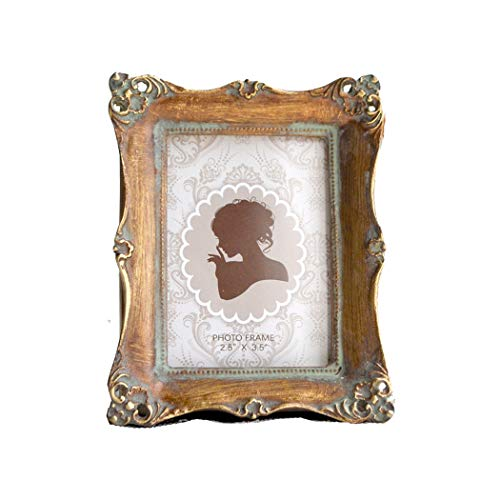 CISOO Vintage Picture Frame 2.5x3.5 Antique Photo Frame Table Top Display and Wall Hanging Home Decor (Bronze)