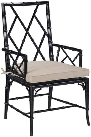 New Faux Bamboo Dining Arm Chair Antique Black Finish Neutral Cushion Amazon Co Uk Kitchen Home