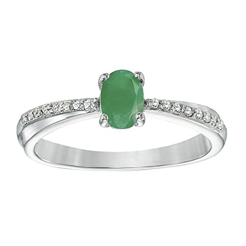 .50 Ct Oval Green Emerald Diamond Ring in Silver (.08cttw, I-J, I2-I3) Size 9
