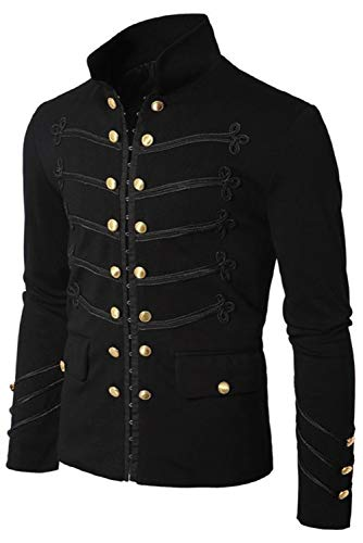 Price comparison product image CHECKIN Men's Medieval Classic Double Breasted Solid Color Jacket Stand Collar Overcoat Retro Punk Fashion Trench Coat (X-Large, Black)