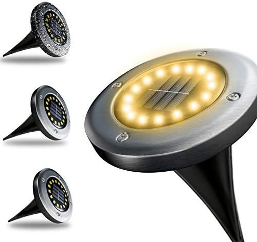 【GARANZIA A VITA】4 Pezzi, Luci Da Giardino Ad Energia Solare 16 LED, Batteria Integrata 800mAh, Impermeabile IP65, Faretti Da Terra, Lampade Solari Per Esterno (Luce Calda)