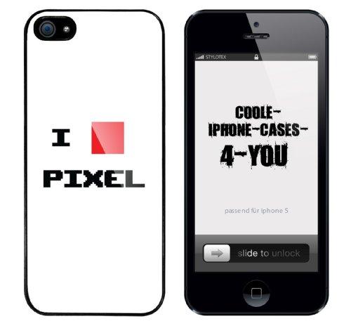 Iphone 5 Case I love Pixel Rahmen schwarz