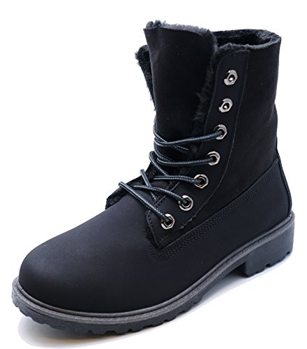 HeelzSoHigh Womens Black Lace-up Desert Warm Fleece Lined Comfy Casual Ankle Boots Shoes Sizes 3-8