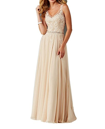 Faironline Women's V Neck Appliques Prom Dress Long Beaded Evening Party Gowns Size 8 Champagne (Dress Take 5 Evening Strapless)