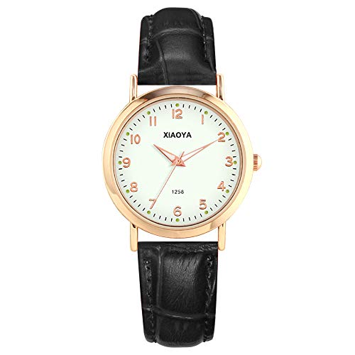 Women Quartz Analog Watches Leather Band Luxury Quartz Watches Girls Ladies Wristwatch (1258 Black) ()