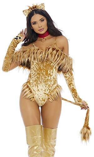 Big Halloween Costumes 2019 (Forplay Women's A Scaredy Lion Sexy Movie Character Costume, tan,)
