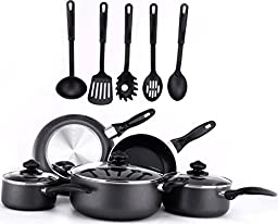 13 Pieces Kitchen Cookware Set - Black, Highly Durable, Even Heat Distribution, Double Nonstick Coating - Multipurpose Use for Home, Kitchen or Restaurant - by Utopia Kitchen