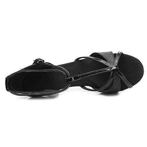 Swdzm De Danse 255 uk 5cm Modle Latine Pour Ballroom Chaussures Femmes Satin Noir wBrE5wqp