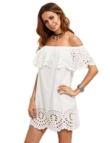 Floerns Women's Off Shoulder Ruffle Loose Tunic Shift Dress White L (Shoulder White The Off Dress)
