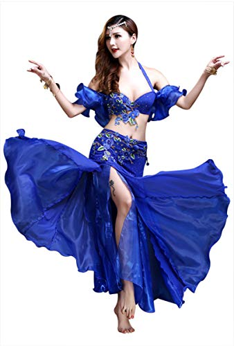 Arab Show Halter - Z&X Belly Dance Costume for Women Sexy Split Halloween India Dance 3 Pieces Outfits (36B, Royal Blue)