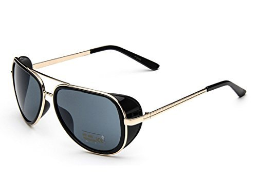 Metal Aviator Shield (Caixia Unisex S005 Horn Rimmed Metal Frame Side Shield Aviator 58mm Sunglasses)