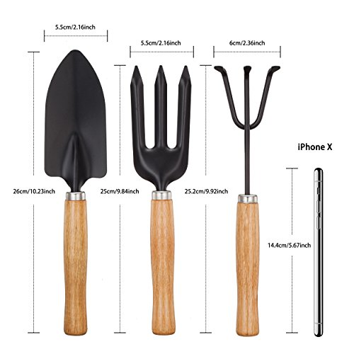 YAPASPT 3 Piece Garden Tools Set - Home Tool Kit for Pot Planting Weeding Transplanting and Digging - Home Practical Gardening Gifts Set with Comfortable Wood Handle Ideal for Indoor/Outdoor by YAPASPT (Image #2)