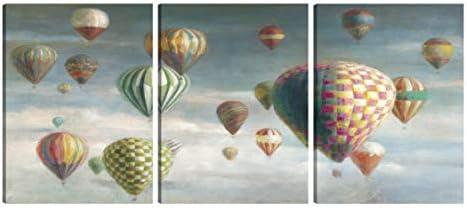 Art Maison Wall Art Canvas, Set of 3 24 X32 , HOT AIR Balloons